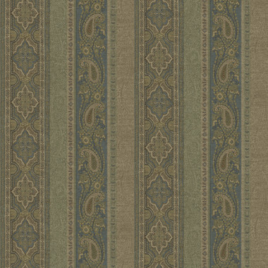 Emerson Blue Paisley Stripe Wallpaper