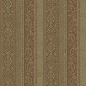 Emerson Rust Paisley Stripe Wallpaper