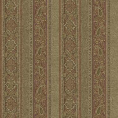 Emerson Rust Paisley Stripe Wallpaper