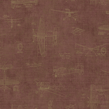 Douglas Red Vintage Planes Wallpaper