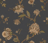 Monaco Blue Jacobean Trail Wallpaper