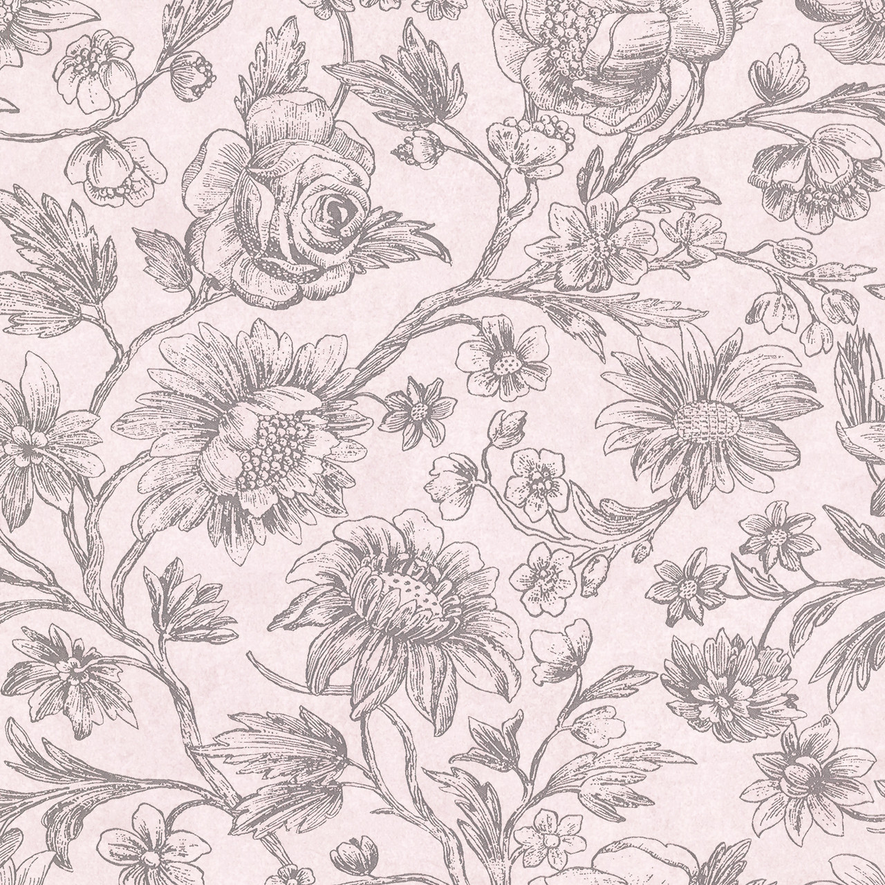 356091 Kepler Light Pink Sketched Floral Wallpaper