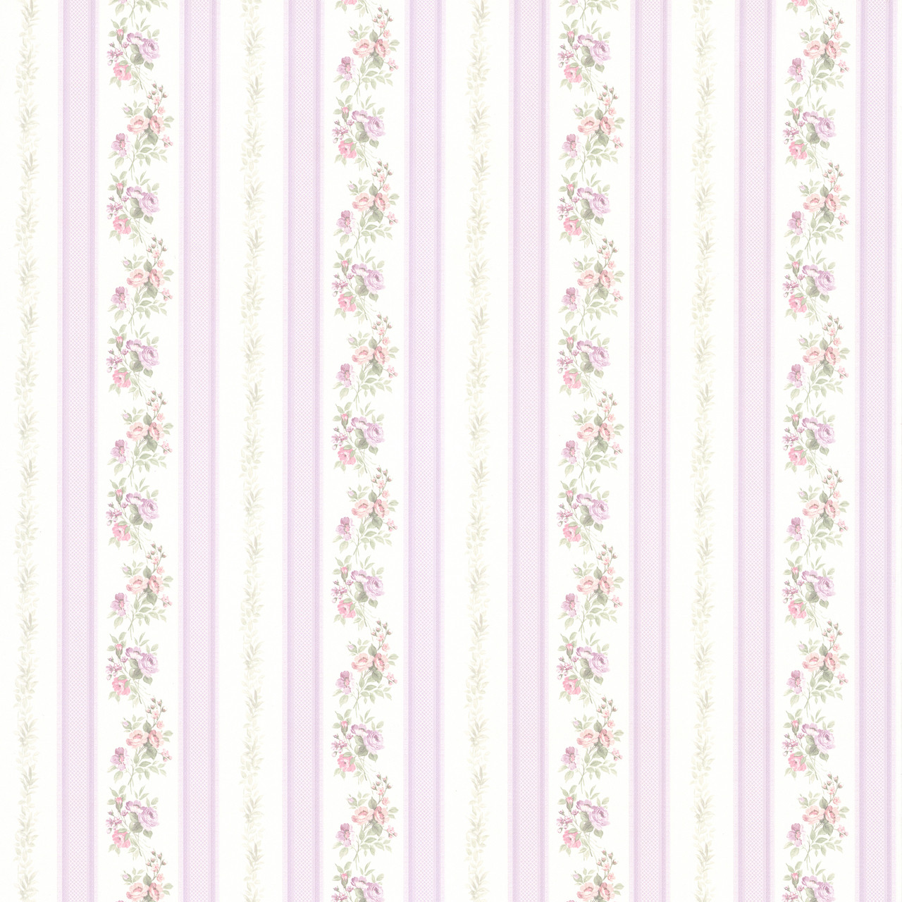 414 56030 Princess Lavender Floral Stripe Wallpaper