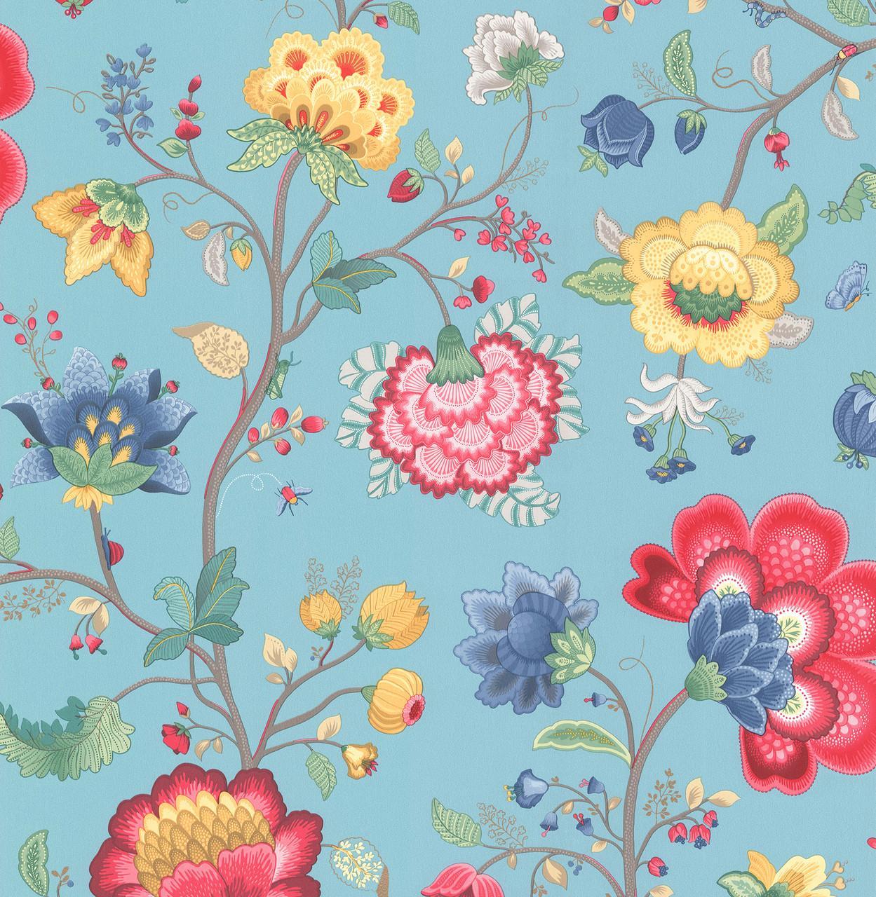 Epona Light Blue Floral Fantasy 341035 Wallpaper Indoorwallpaper Com