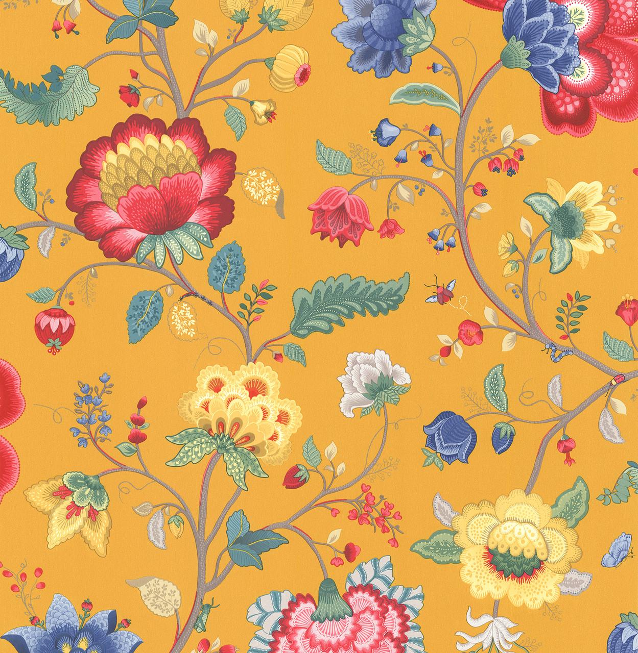 Epona Yellow Floral Fantasy 341037 Wallpaper Indoorwallpaper Com
