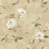 Brown Rosaline Floral Wallpaper