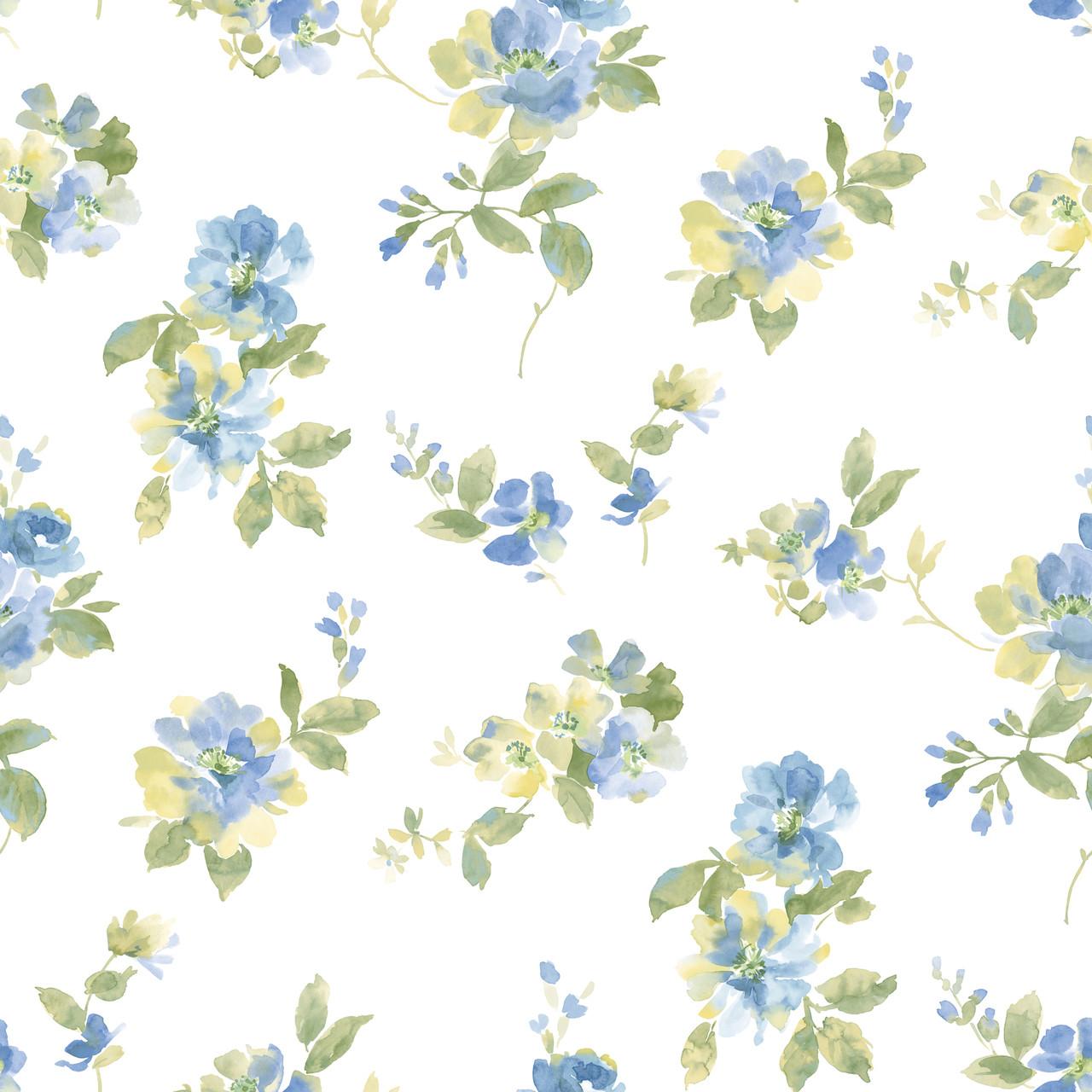 Captiva Blue Watercolor Floral Dlr54591 Wallpaper