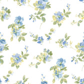 Captiva Blue Watercolor Floral Wallpaper