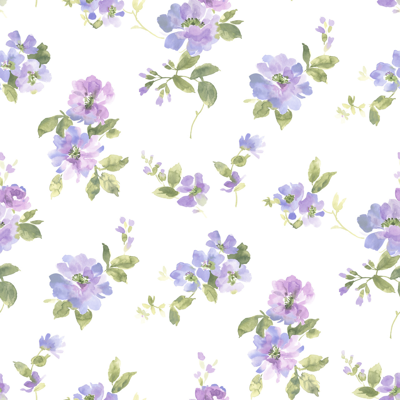 Dlr54593 Captiva Purple Watercolor Floral Wallpaper