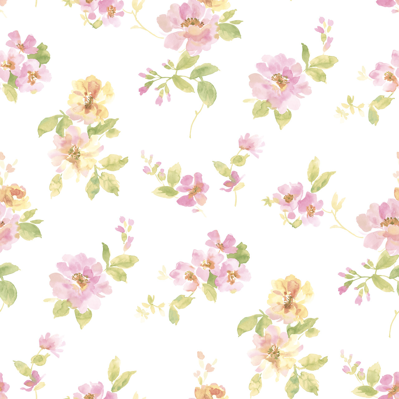 Captiva Pink Watercolor Floral Dlr54594 Wallpaper