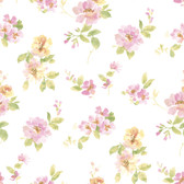 Captiva Pink Watercolor Floral Wallpaper