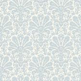Seascape Blue Damask Wallpaper