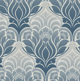 Twill Blue Damask Wallpaper