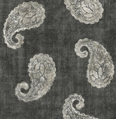 Kashmir Charcoal Paisley Wallpaper