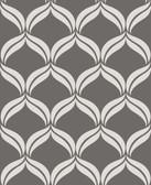 Petals Grey Ogee Wallpaper