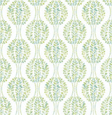 Versailles Green Floral Damask Wallpaper