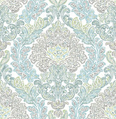 Fontaine Teal Damask Wallpaper