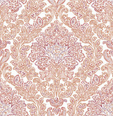 Fontaine Orange Damask Wallpaper