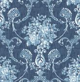 Winsome Blue Floral Damask Wallpaper