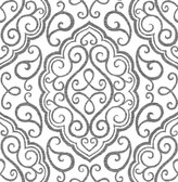 Heavenly Black Damask Wallpaper