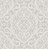 Heavenly Taupe Damask Wallpaper