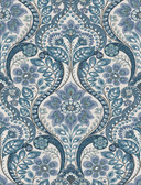 2763-12102 Night Bloom Blue Damask Wallpaper
