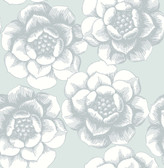 2763-24240 Fanciful Silver Floral Wallpaper