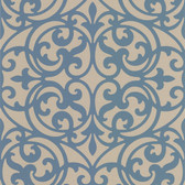 DL30626 Sonata Blue Ironwork Wallpaper