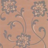 DL30647 Sharon Copper Jacobean Floral Wallpaper