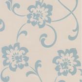 DL30648 Sharon Aqua Jacobean Floral Wallpaper