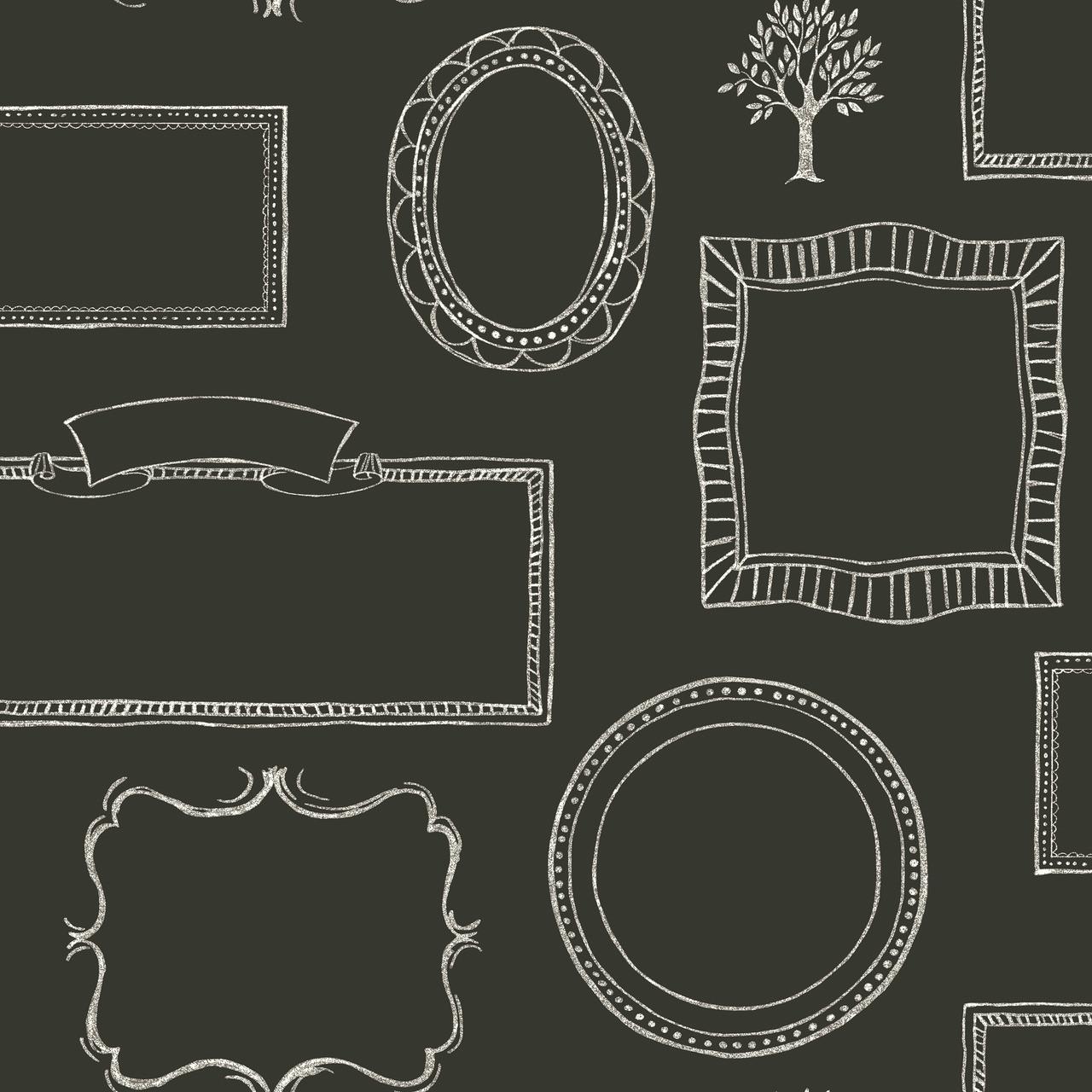 Lg1366 Chalkboard Frames Wallpaper Black Indoorwallpaper Com