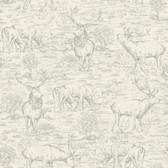 LG1446 Stag Toile Wallpaper - Cream/Grey