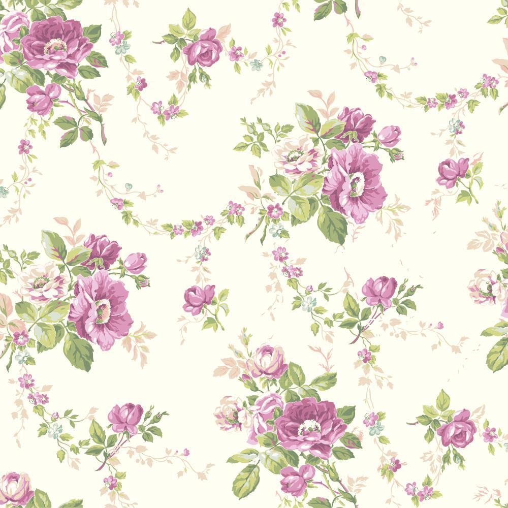 Botanical Fantasy Victorian Garden Wallpaper In Lilac Green Pink