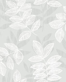 2793-87321 Chimera Silver Flocked Leaf Wallpaper
