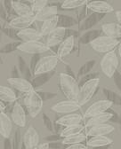 2793-87322 Chimera Platinum Flocked Leaf Wallpaper