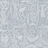 2782-1765 Lindberg Slate Blue Folk Wallpaper