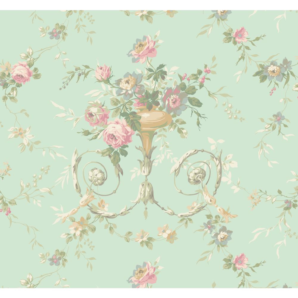 Botanical Fantasy Floral Urn Wallpaper In Mint Lilac Green