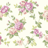 Botanical Fantasy AK7492Garden Rose Trail Wallpaper