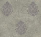 ART25102 Grey Baroque Damask Wallpaper