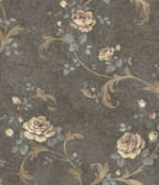 ARS26001 Gracie Grey Floral Scroll Wallpaper Wallpaper