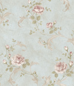 ARS26003 Gracie Blue Floral Scroll Wallpaper Wallpaper