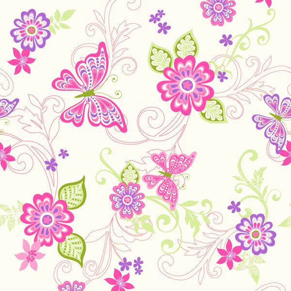 Bbc95511 Paisley Pink Butterfly Flower Scroll Wallpaper Wallpaper