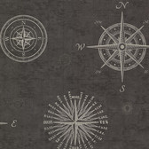 2604-21215 Navigate Charcoal Vintage Compass Wallpaper