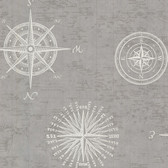 2604-21216 Navigate Grey Vintage Compass Wallpaper