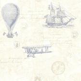 2604-21242 Explorer Blue Antique Map Wallpaper