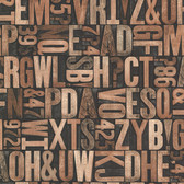 Oxford 2604-21249 - Letterpress Typography Map Wallpaper Brown