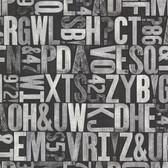 Oxford 2604-21251 - Letterpress Typography Map Wallpaper Silver