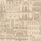 Oxford 2604-21255 - Facade Vintage Blueprint Wallpaper Sand