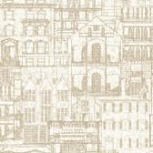 2604-21256 Facade Beige Vintage Blueprint Wallpaper