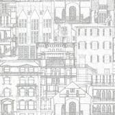 Oxford 2604-21257 - Facade Vintage Blueprint Wallpaper Light Grey